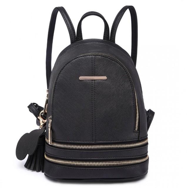 Batoh - mini, stylový, eko kožený, černý