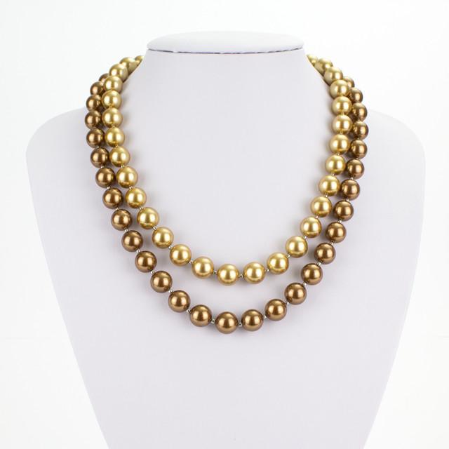 Náhrdelník - shell perlový, dvouřadý, zlatohnědý