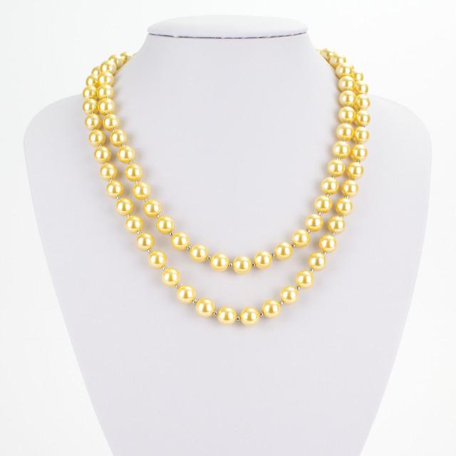 Náhrdelník - shell perlový, dvouřadý, P8, zlatožlutý