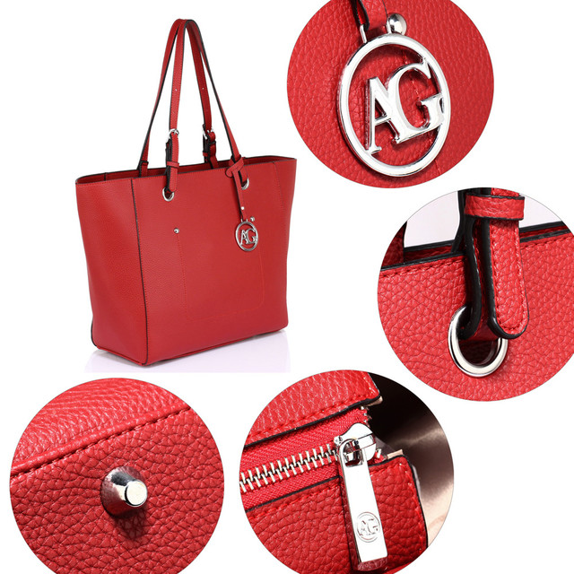 Kabelka - dámská, tote, do práce, s přívěskem, červená