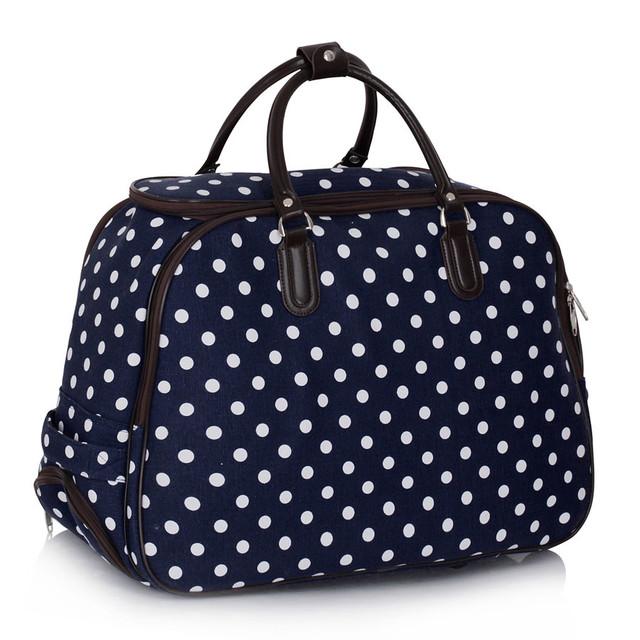 Cestovní taška - velká cestovní, tečkovaná, tmavomodrá