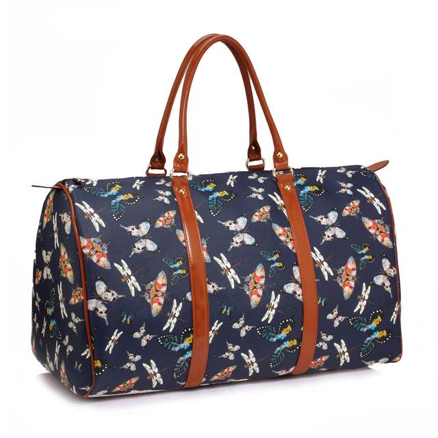 Cestovní taška - Motýlová, víkendová z eko kůže, tmavomodrá
