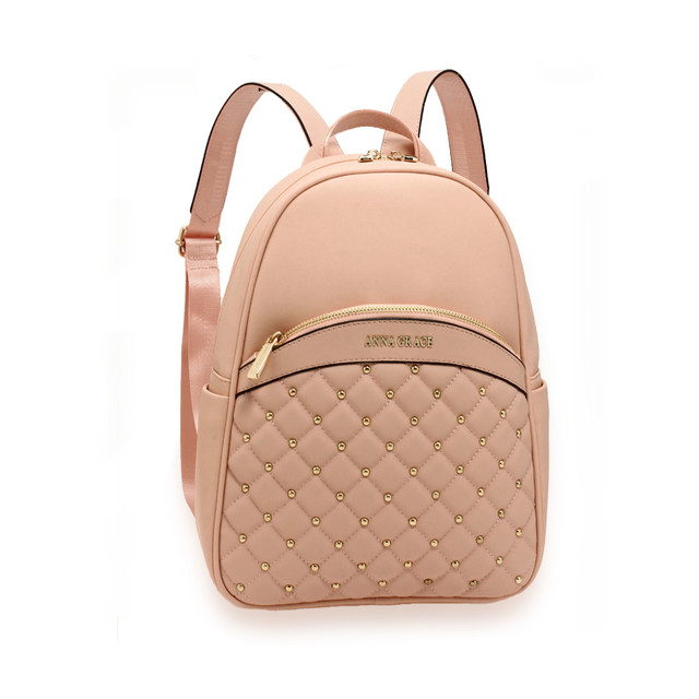 Batoh - vybíjen, stylový, eko kožený, růžový