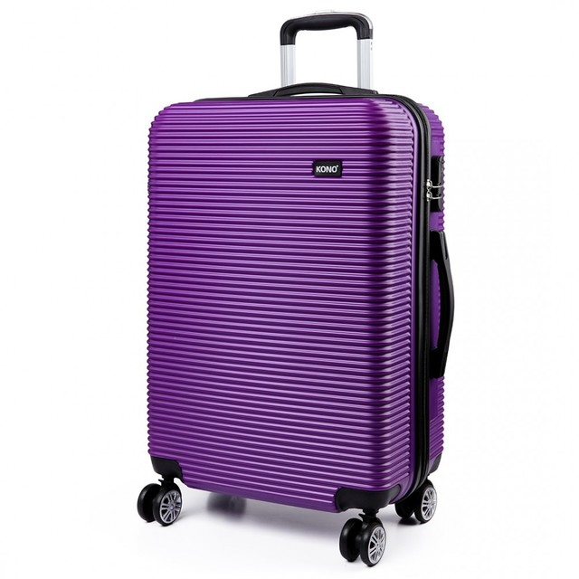Kufr - vroubkovým, na cestování, praktický, fialový