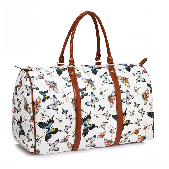 Cestovní taška - Motýlová, víkendová z eko kůže, bílá