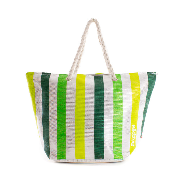 Taška - pruhovaná lesklá plážová, zelená