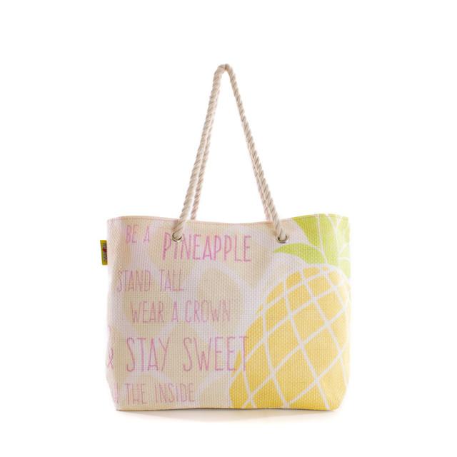 Taška - plážová s ananasem letní, růžová