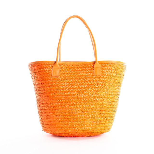 Taška - slaměná letní na rameno, oranžová