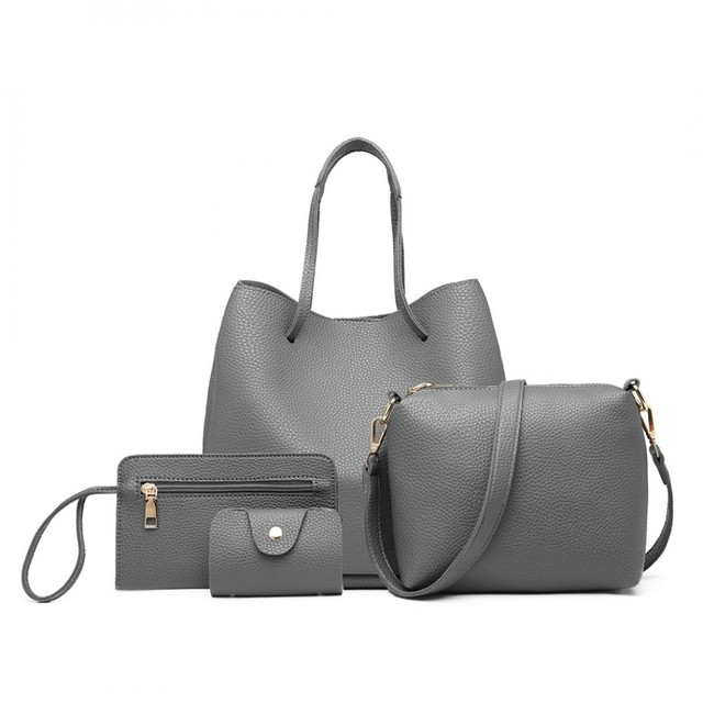 Set kabelek - eko kožený s peněženkou, šedý