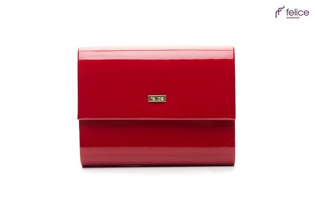 Kabelka - elegantní Felice společenská lesklá, červená