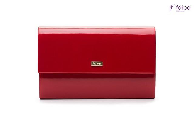 Kabelka - Felice lesklá společenská, červená