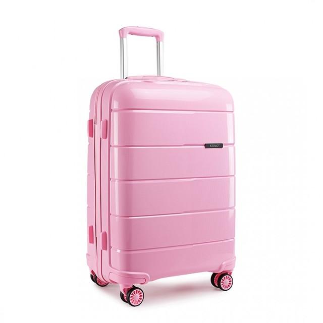 Kufr - cestovní Kono unisex PP lesklý malý, růžový