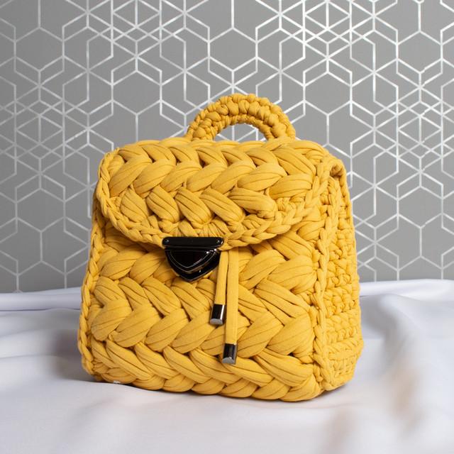 Kabelka - háčkovaná elsie, žlutá