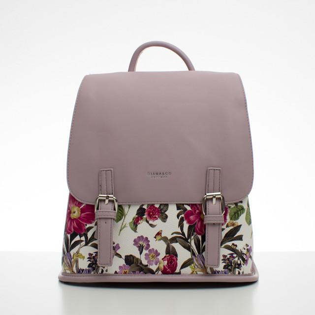 Batoh - květinový s přezkami, fialový