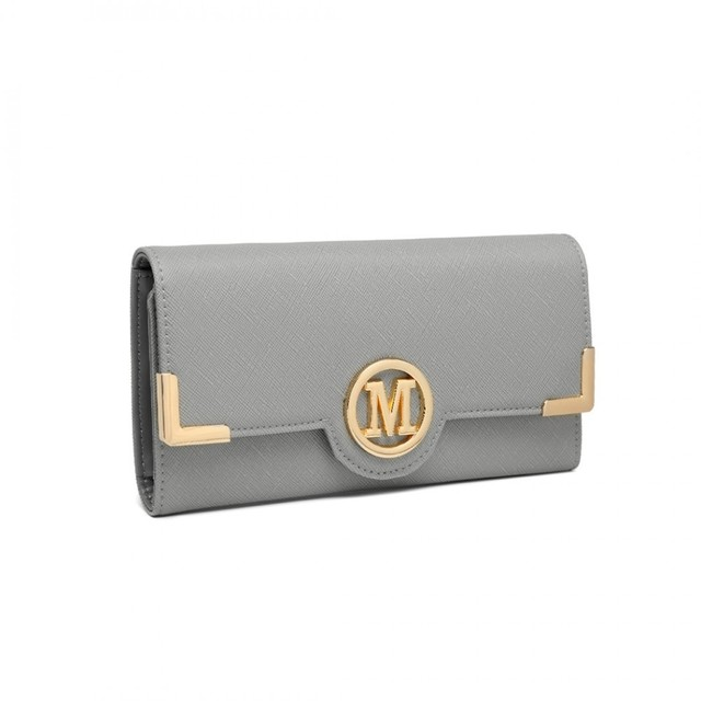 Peněženka - koženková s logem, šedá