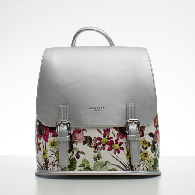 Batoh - květinový s přezkami, stříbrný