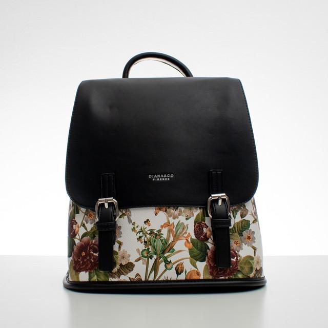 Batoh - květinový s přezkami, černý