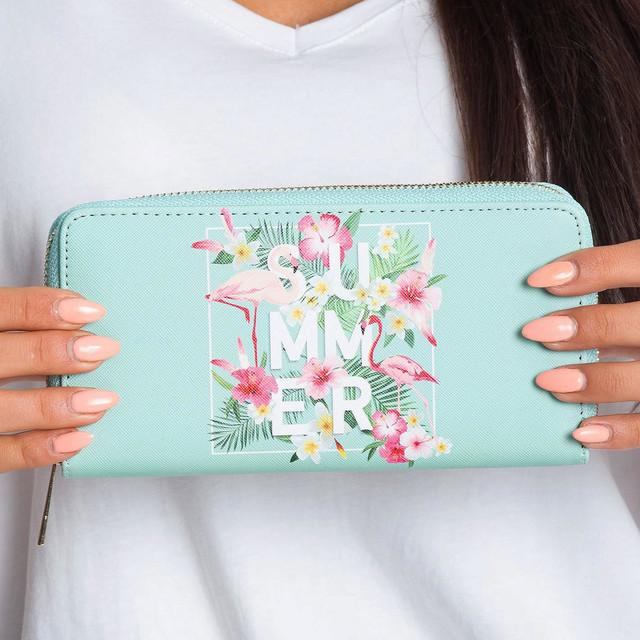 Peněženka - summer s květinami mentolová