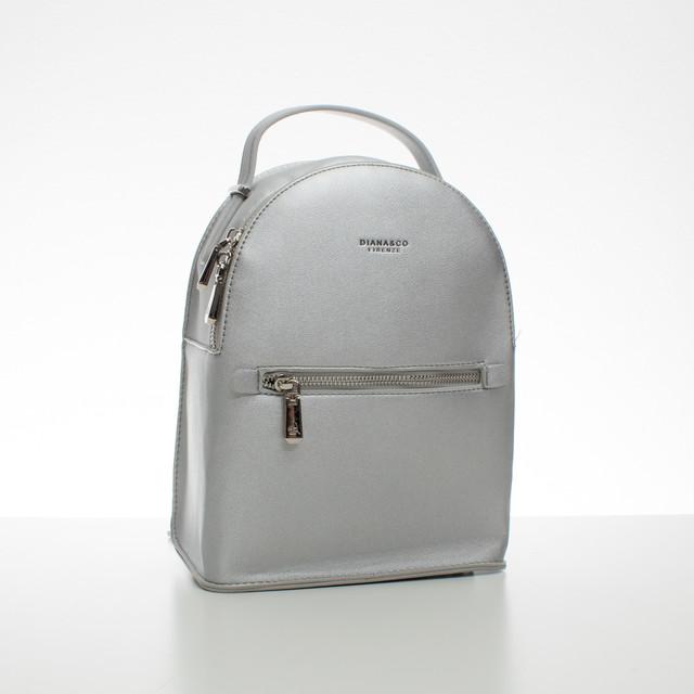 Batoh - malý koženkový Diana s doplňky, stříbrný