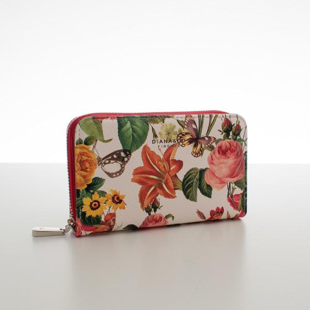 Peněženka - střední květinová Diana, červená