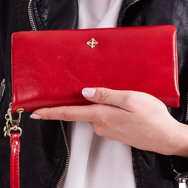 Peněženka - s řemínkem do ruky koženková, červená