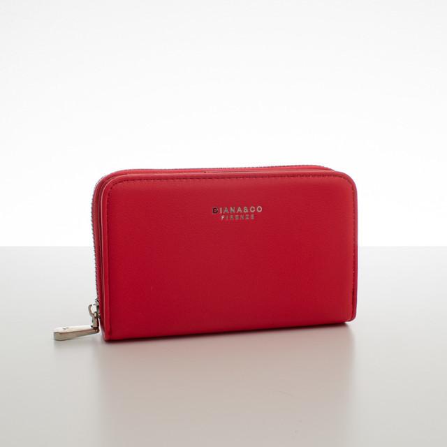Peněženka - do kabelky elegantní Diana, korálová červená