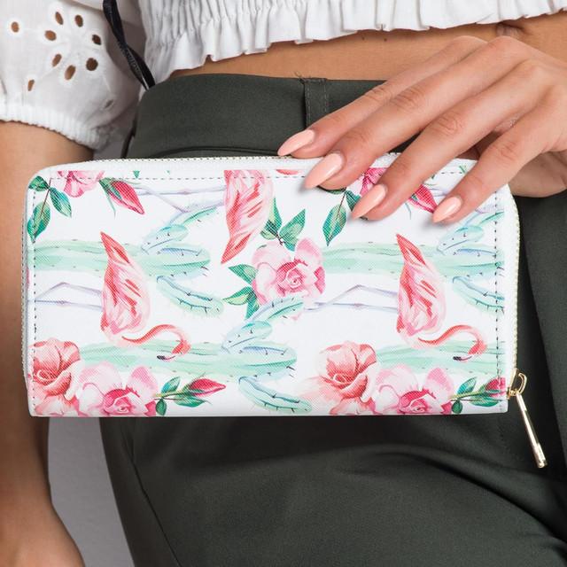 Peněženka - flamingo s květinami bílá