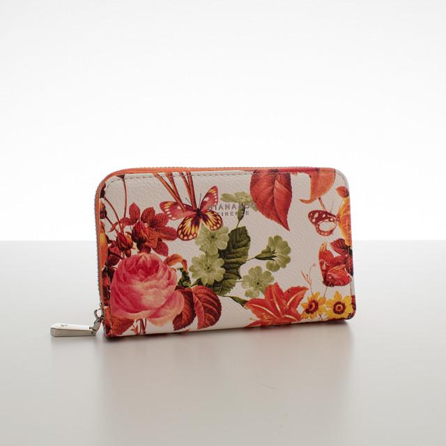Peněženka - střední květinová Diana, oranžová