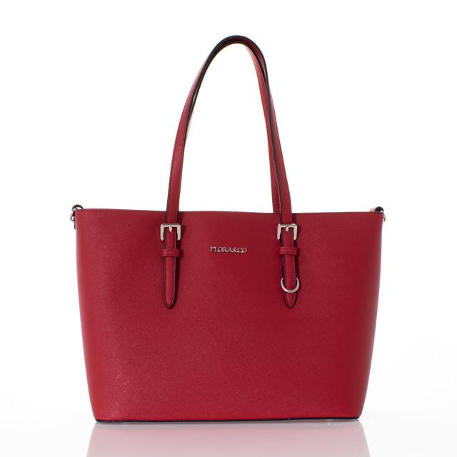 Kabelka - Flora velká na rameno elegantní, červená