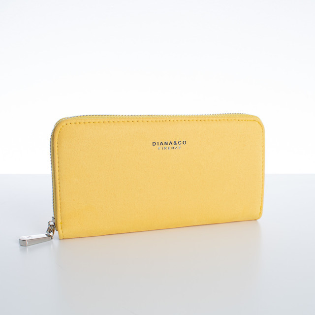Peněženka - velká semišová Diana,  žlutá