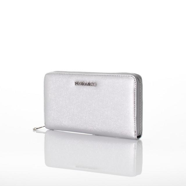 Peněženka - Flora koženková stříbrná