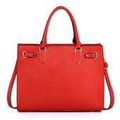 Kabelka - bussiness elegance, grab, přes rameno, červená