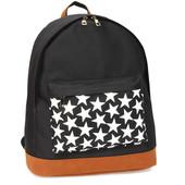 Batoh - s hvězdičkami, školní látkový na zip, černý