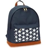 Batoh - s hvězdičkami, školní látkový na zip, tmavomodrý