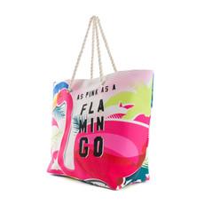 Taška - Pink Flamingo letní na pláž, barevná
