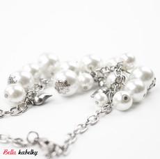 Náramek - perlový se srdíčky, bílý