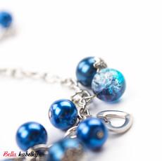 Náramek - perlový se srdíčky, tmavomodrý