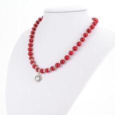 Náhrdelník - shell perlový, se srdíčkem, červený