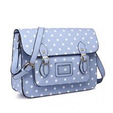 Kabelka - aktovka, tečkovaná, satchel, modrá