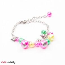 Náramek - perlový se srdíčky, barevný