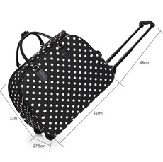Cestovní taška - velká cestovní, tečkovaná, černá