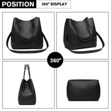 Set kabelek - eko kožený s peněženkou, černý