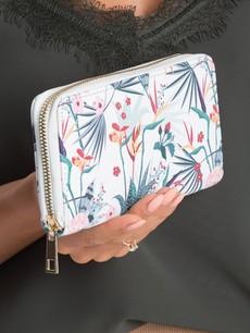 Peněženka - květinová bílá