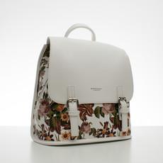 Batoh - květinový s přezkami, bílý