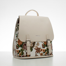 Batoh - květinový s přezkami, béžový