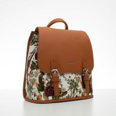 Batoh - květinový s přezkami, hnědý