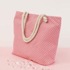 Taška - plážová s puntíky růžová